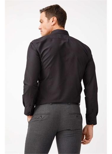 IGS Erkek Sıyah Slım Fıt / Dar Kalıp Std Gömlek Siyah